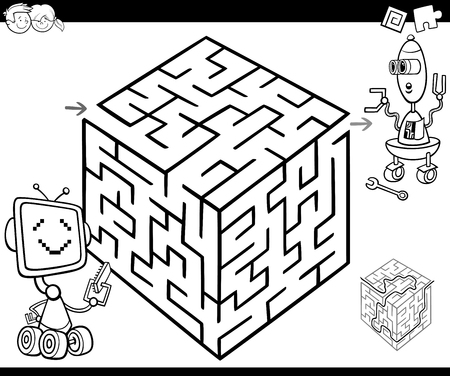 funny robot: Cartoon Illustration of Education Maze or Labyrinth Game for Children with Robot Characters Coloring Page Illustration