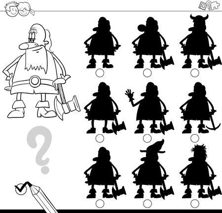 finding: Black and White Cartoon Illustration of Finding the Shadow without Differences Educational Activity for Kids with Dwarf Fantasy Character Coloring Page