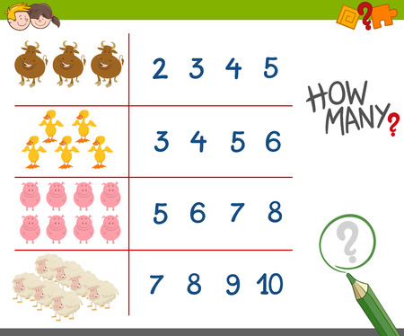 Cartoon Illustration of Educational Counting Game for Children with Cute Farm Animal Characters