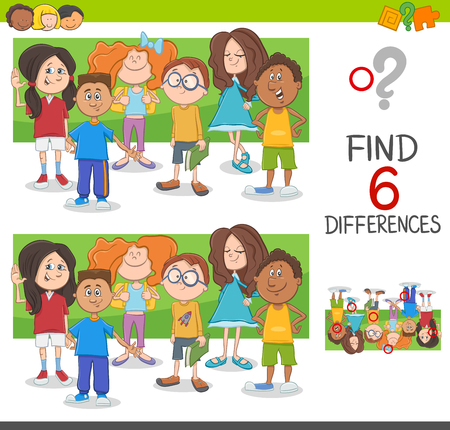 Cartoon Illustration of Spot the Differences Educational Game with Elementary Age Children Characters Group
