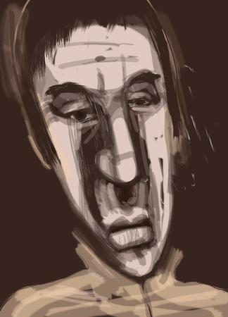 colour image: Digital Painting Illustration of Man Character Portrait Stock Photo