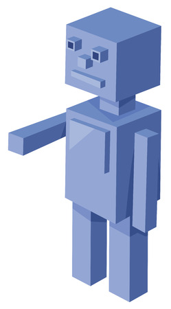 funny robot: Cartoon Illustration of Cubical Robot 3d Game Character