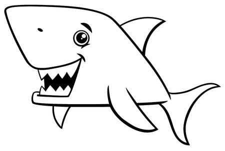Schwarz Weiss Karikatur Illustration Von Fisch Shark Sea Life Tier
