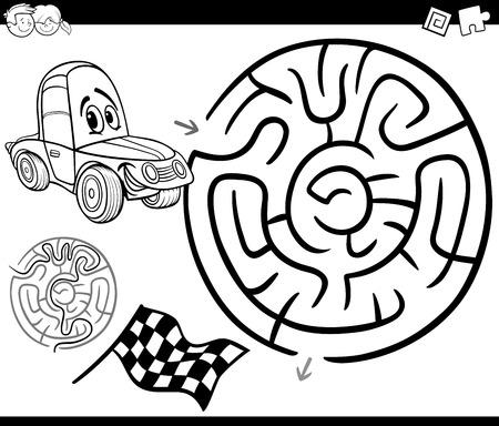 흑인과 백인 만화 교육 미로 또는 미로 게임 어린이 그림 그리기 자동차 색칠 공부 페이지