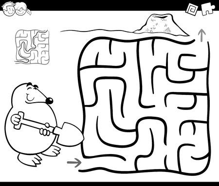 ほくろの着色のページを持つ子どもの教育迷路や迷宮ゲームの白黒漫画イラスト 写真素材 - 80709925