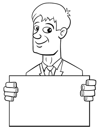 humorous: Black and White Cartoon Illustration of Man or Businessman Character with Blank Board or Card