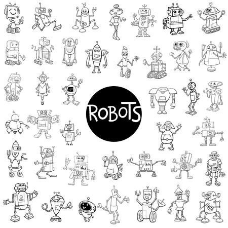 Black and White Cartoon Illustration of Robots Fantasy Characters Huge Set Illustration