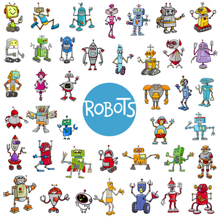 Cartoon Illustration of Robots Fantasy Characters Huge Set Иллюстрация
