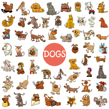 Cartoon Illustration of Dogs Pet Animal Characters Large Set