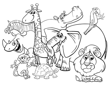 Black and White Cartoon Illustration of Safari Wild Animal Characters Group Coloring Book