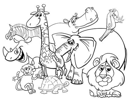 Illustration en bande dessinée en noir et blanc de Safari Wild Animal Characters Group Coloring Book Banque d'images - 80942196