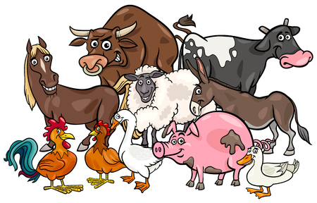 Cartoon Illustration of Comic Farm Animal Characters Group