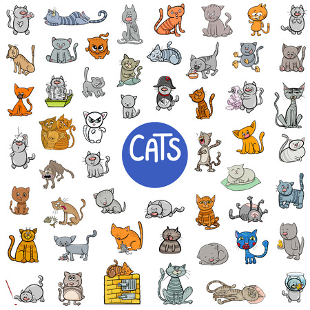 Cartoon Illustration of Cats Animal Characters Big Set