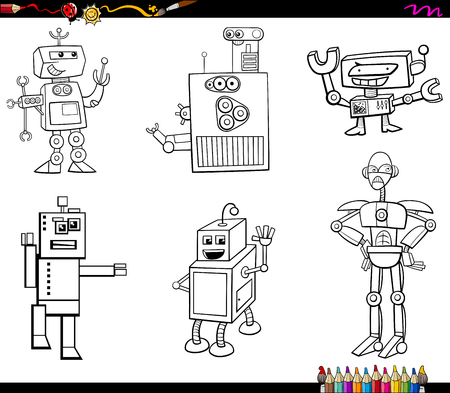 funny robot: Black and White Cartoon Illustration of Robot Fantasy Characters Set Coloring Book Illustration