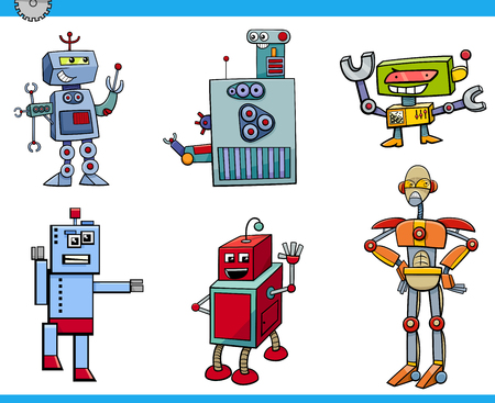 funny robot: Cartoon Illustration of Robot Science Fiction or Fantasy Characters Set Illustration
