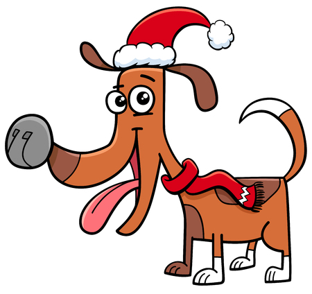 Cartoon Illustration of Dog or Puppy Animal Character with Scarf on Christmas Time
