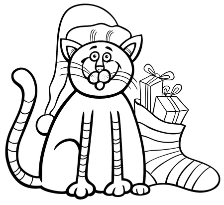 Black and White Cartoon Illustration of Cat or Kitten Animal Character and Christmas Sock with Presents Coloring Book