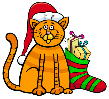 Cartoon Illustration of Cat or Kitten Animal Character and Christmas Sock with Presents Illustration