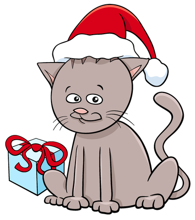 Cartoon Illustration of Cat or Kitten Animal Character with Gift on Christmas Time Illustration