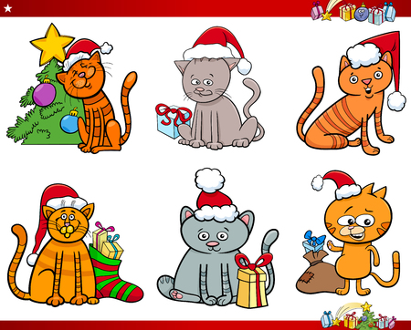 Cartoon Illustration of Cats Animal Characters on Christmas Time Set