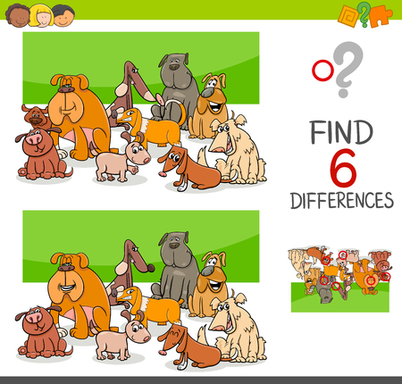 school age: Cartoon Illustration of Spot the Differences Educational Game for Children with Dog Animal Characters Group