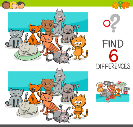 Cartoon Illustration of Spot the Differences Educational Game for Children with Cat Animal Characters Group