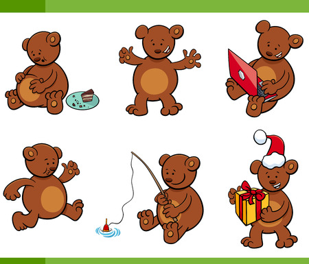 Cartoon Illustration Set of Bear Animal Characters in different Situations