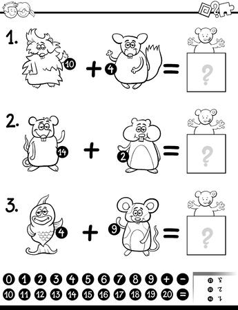 Ilustración De Dibujos Animados En Blanco Y Negro De La Adición ...
