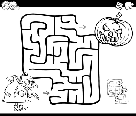 Laberinto Para Niños. Calabaza De Halloween Y Caramelos. Entrada Y ...