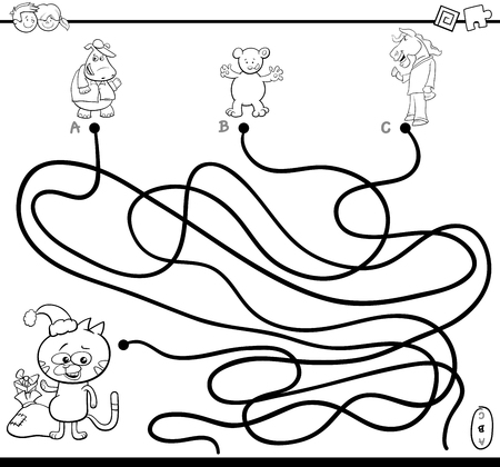 Black And White Cartoon Illustration Of Paths Or Maze Puzzle Activity Game With Animal Characters On