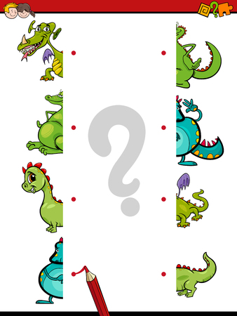 Cartoon Illustration of Educational Game of Matching Halves with Fantasy Dragons or Monster Characters
