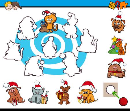silueta de gato: Cartoon Illustration of Educational Activity for Preschool Children with Christmas Animal Characters