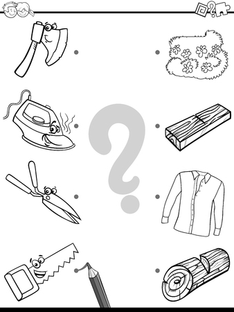 Black and White Cartoon Illustration of Education Pictures Matching Game for Children with Tools and Objects Coloring Book