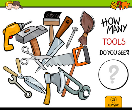 drill: Cartoon Illustration of Educational Counting Activity Game for Children with Tools Objects Illustration