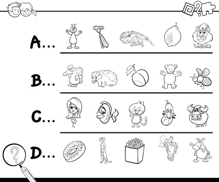 Black And White Cartoon Illustration Of Finding Picture Starting With Referred Letter Educational Game Worksheet For