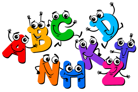Cartoon Illustration of Funny Capital Letter Characters Alphabet Group for Children Education