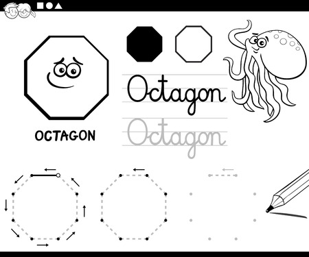 Black and White Educational Cartoon Illustration of Octagon Basic Geometric Shape for Children Coloring Page 向量圖像