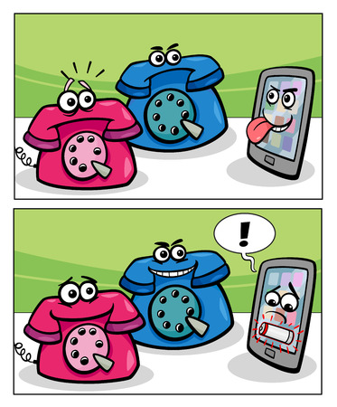 touch screen phone: Cartoon Illustration of Smart Phone and Retro Phones Comic Story Illustration