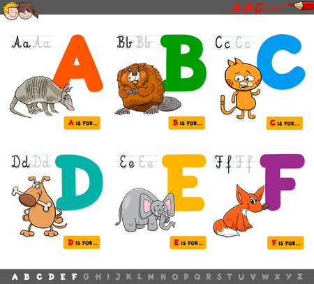 Cartoon Illustration of Capital Letters Alphabet Set with Animal Characters for Reading and Writing Education for Children from A to F