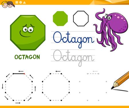 Educational Cartoon Illustration of Octagon Basic Geometric Shape for Children 向量圖像