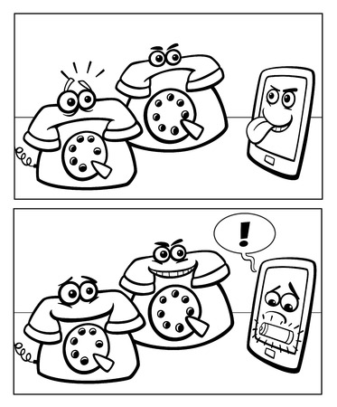 touch screen phone: Black and  White Cartoon Illustration of Smart Phone and Retro Phones Comic Story Illustration