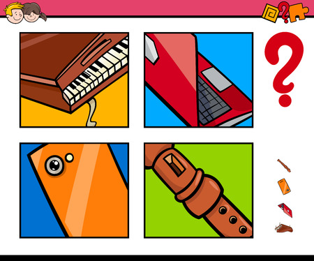 Cartoon Illustration of Educational Game of Guessing Objects for Children