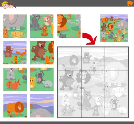 Cartoon Illustration of Education Jigsaw Puzzle Game for Children with Animal Characters