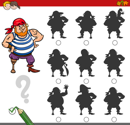 Cartoon Illustration of Finding the Shadow without Differences Educational Activity for Children with Pirate Fantasy Character Illusztráció