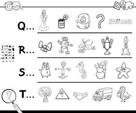 Black and White Cartoon Illustration of Searching Pictures Starting with Referred Letter Educational Game Worksheet for Children Coloring Book
