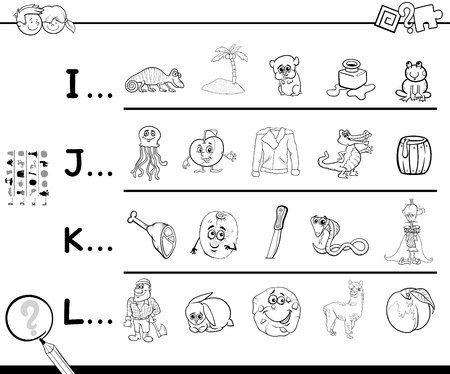 Black and White Cartoon Illustration of Finding Pictures Starting with Referred Letter Educational Activity Game Worksheet for Children Coloring Book