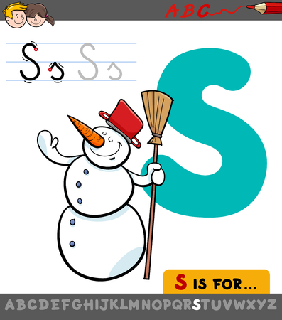 Educational Cartoon Illustration of Letter S from Alphabet with Snowman Character for Children