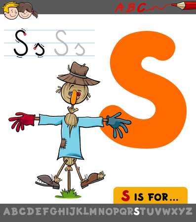 Educational Cartoon Illustration of Letter S from Alphabet with Scarecrow for Children
