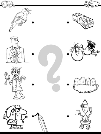 Black and White Cartoon Illustration of Education Pictures Matching Game for Children with People and Animals and Objects Coloring Book