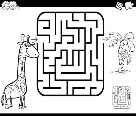 Ilustración De Dibujos Animados En Blanco Y Negro De Educación ...